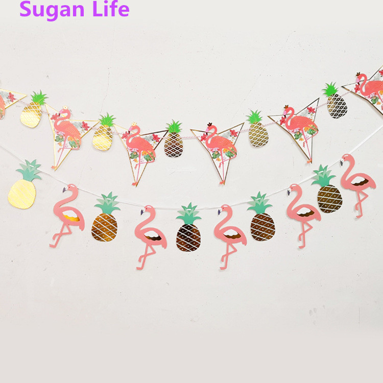 Flamingo Hawaii Garland Tropical Coconut Leaves Banner Flag Party wedding decoration Supplies birthday party decorations kids