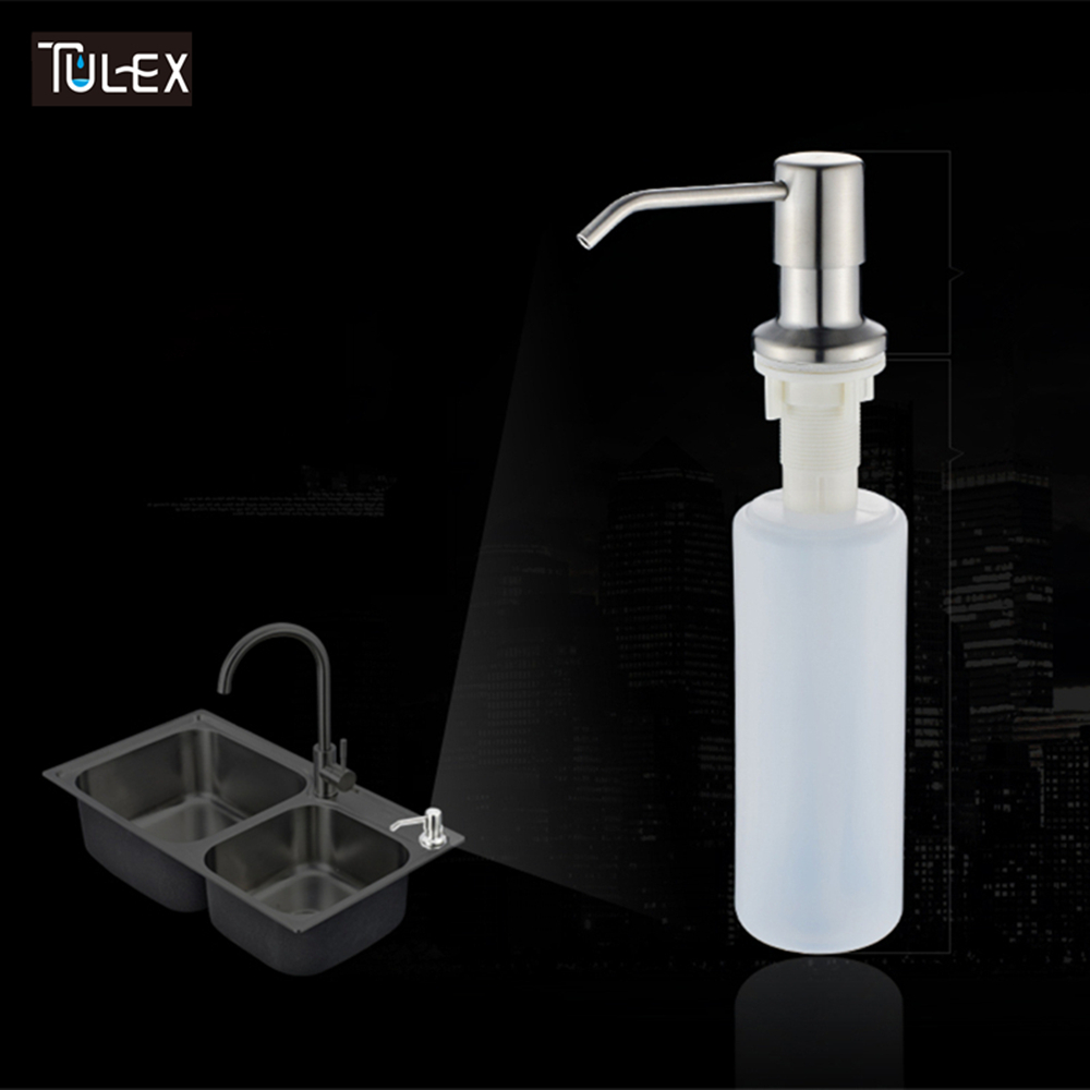 TULEX Kitchen Dispenser Soap Dispenser Sink Built In Stainless Steel Sink Soap Bottle Liquid Pump Brushed or Black Color 280lm automatic liquid soap dispenser stainless steel sensor soap dispenser pump shower kitchen soap bottle for bath washroom