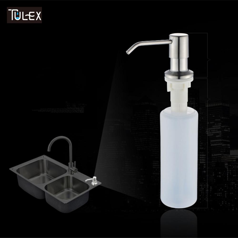 TULEX Kitchen Dispenser Soap Dispenser For Kitchen Sink Built In Stainless Steel Soap Bottle Liquid Pump Brushed Or Black Color