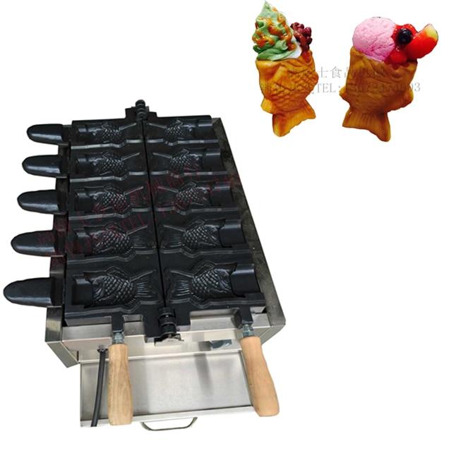 Free shipping 110V 220v 5 Pcs Fish Cone Waffle Maker Ice Cream Taiyaki Machine недорого