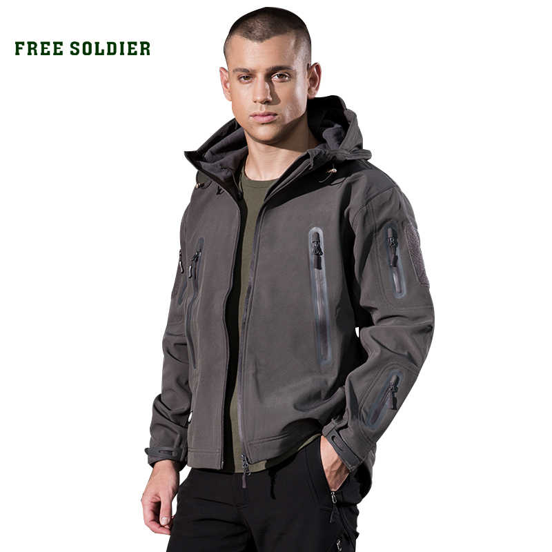 FREE SOLDIER outdoor camping instant waterproof windbreaker softshell jacket men's coat thermal outwear clothing large US size