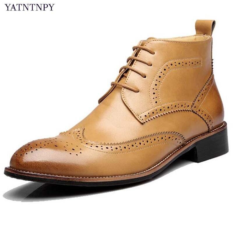YATNTNPY nouveauté homme cuir bottes hommes hiver Bullock sculpté bottes Vintage pour Martin bottes à lacets Oxfords homme bota masculi