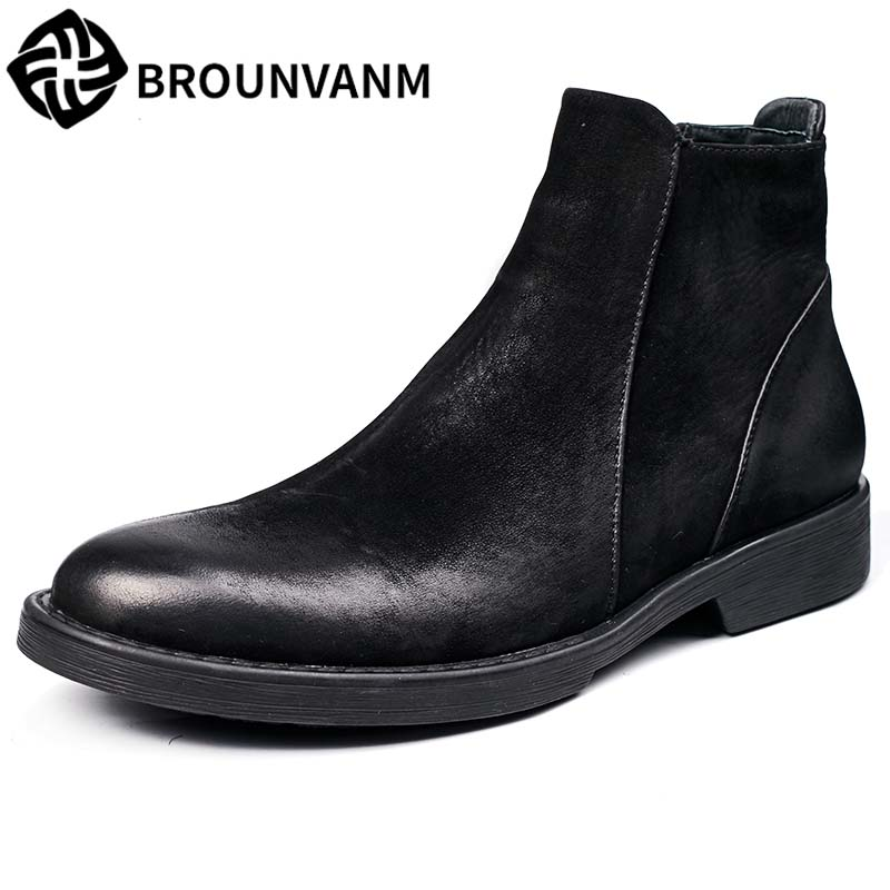 Large size men leather boots shoes retro British matte puymartin zipper Chelsea boots high shoes for men's fashion big size 2017 new autumn winter british retro men shoes zipper leather breathable sneaker fashion boots men casual shoes handmade