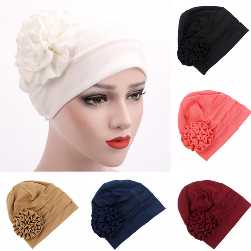 Fashion Cotton Solid color side of the applique flower scarf hat Muslim head hat cap women postpartum warm hat Turban Head Cap women s hat muslim flowers decorated beanies scarf cap two color fashion flower hat famous winds tight adjustment female hat