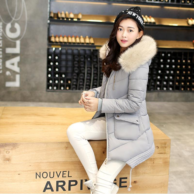 New Winter warm Padded Jacket Women Long Solid Slim Hooded Cotton Coat with Fur Collar Thick Warm Outwear Female Clothe women thick winter large size long section padded hooded outerwear new fashion fur collar slim padded cotton warm coat jacket