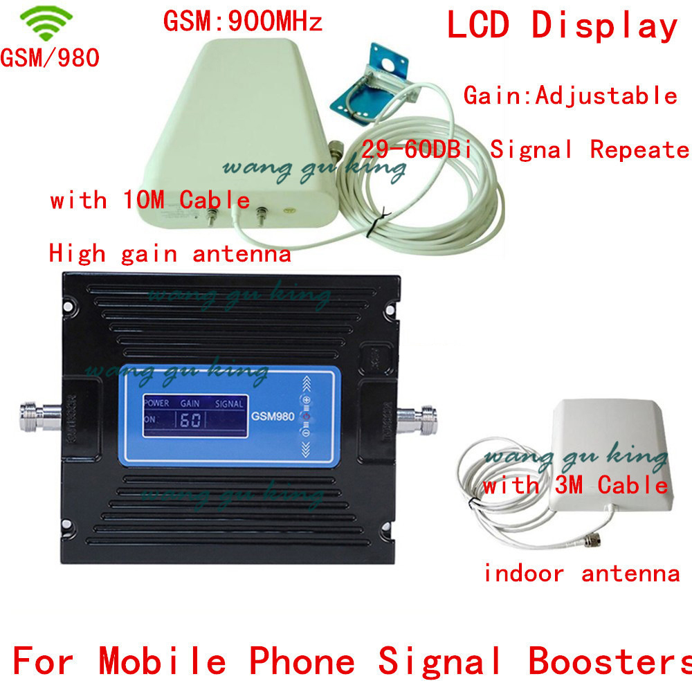 New LCD Display GSM Repeater 2G Mobile Phone Booster GSM 900MHZ Signal Repeater CellPhone Amplifier Booster With Antennas+cable