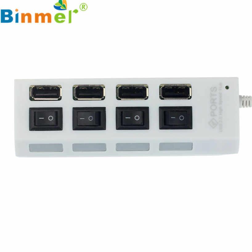 Binmer 2017 無料市平 USB 2.0 4 ポート電源オン/オフスイッチためのハブの Led Pc のラップトップノートブック WH sep 15