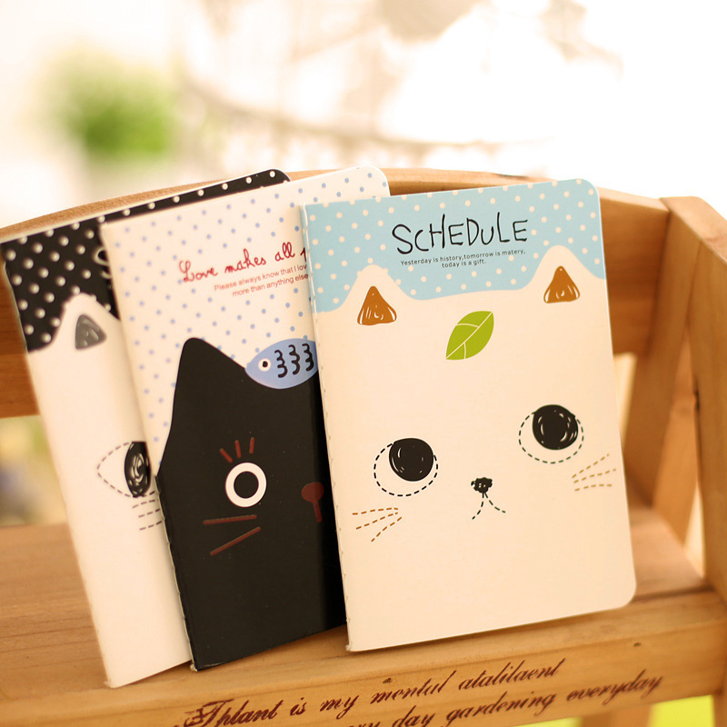 Cute cat mini notebook Stitching Binding note book Portable planner memo stationery office accessories School supplies