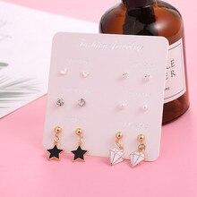 2019 new fashion women earrings for women cute stars geometric earrings Monday to Saturday Korean earrings 6 pairs set a week a suit of cute rhinestone geometric earrings for women
