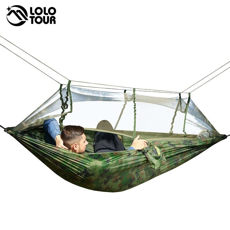 Ultraligero outdoor camping Caza Mosquiteras paracaídas hamaca 2 Persona flyknit hamaca jardín hamak cama colgante Hamac