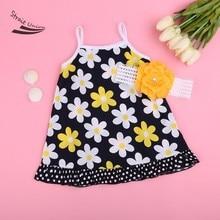 Kids Baby Girl Two Pieces Sleeveless Flower Print Dot Ruffle A-Line Strap Dress and Headband Set