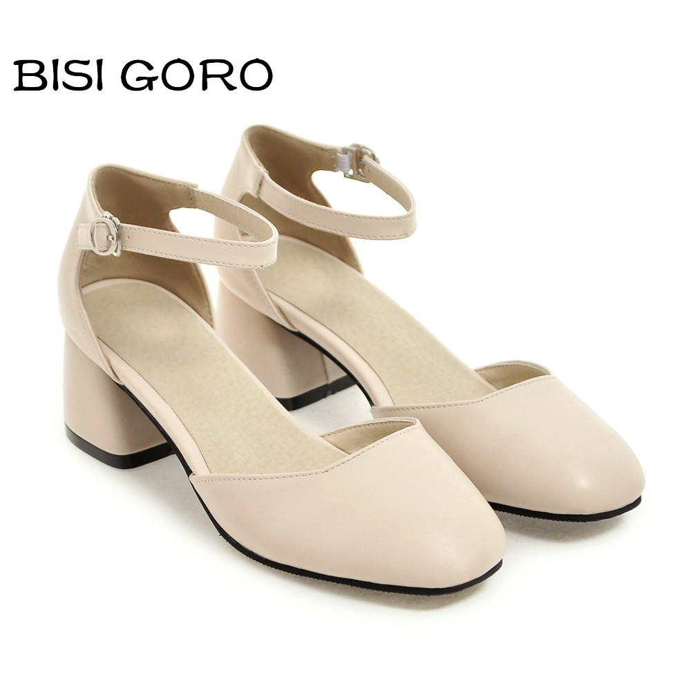 BISI GORO Women Thick Heel Summer Shoes Ankle Strap Ladies Mary Jane Heels Square Toe Shoe