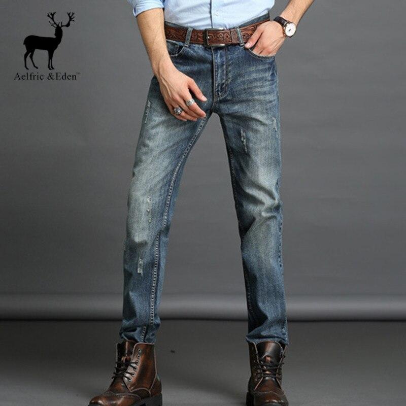 Aelfric Eden Autumn Elasticity Jeans Men Deep Blue Slim Straight Business Jeans Fashion Europe Style Famous Men's Zipper Jeans