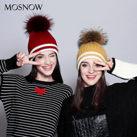 MOSNOW Beanies Patchwork Elegant Wool Knitted Hats 2017 High Quality Raccoon Fur Pompom Brand New Fashion