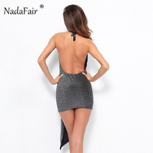 Nadafair black deep v neck halter mini bodycon dress women backless sexy summer dress slim ruched patchwork club party dress