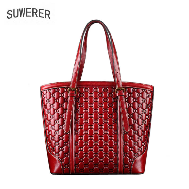 SUWERER 2019 New women genuine leather bag famous brands Embossing flower fashion top cowhide big bag women leather shoulder bagSUWERER 2019 New women genuine leather bag famous brands Embossing flower fashion top cowhide big bag women leather shoulder bag