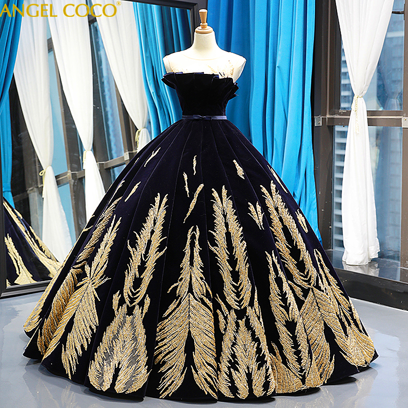 Maternity Floor Length Queen Prom Dresses Gorgeous Ball Gown Sparkly Golden Sequined Dubai Evening Party Dresses Abendkleider
