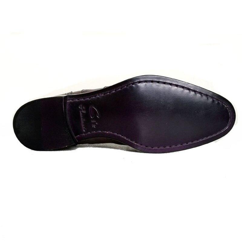 Cie Gratis Verzending Custom Bespoke Handgemaakte Echt Leer heren Oxford Patch Veter Schoen Kleur Bruin No. OX195 Mackay Craft - 6