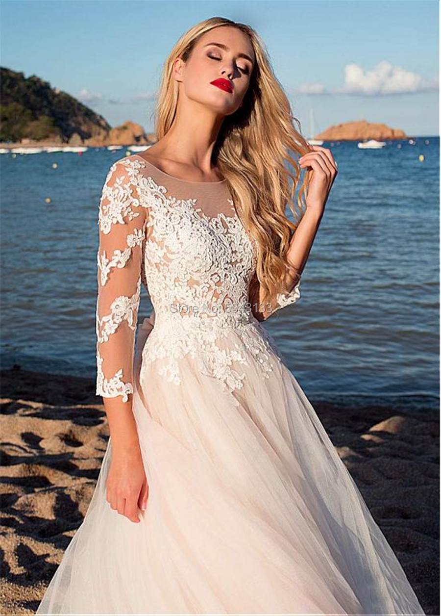 Image 3 - 2019 Fascinating Tulle Scoop Neckline A Line Wedding Dresses With Lace Appliques Long Sleeves Beach Wedding Bridal Dress F96-in Wedding Dresses from Weddings & Events