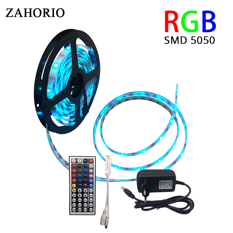 5M 10M SMD 5050 RGB LED Strip 15M led light Waterproof Tape DC 12V Ribbon RGB Flexible Light Strip Full set with Power Adapter