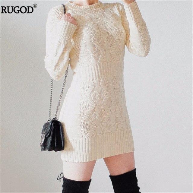 9de7c08f79 RUGOD 2018 Spring New Twist Pattern Warm Dress Women Long Sweater Dress  Sexy Slim Bodycon Dresses Elastic Knitted Dress Vestidos