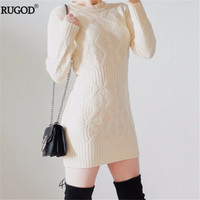 RUGOD 2018 Spring New Twist Pattern Warm Dress Women Long Sweater Dress Sexy Slim Bodycon Dresses Elastic Knitted Dress Vestidos