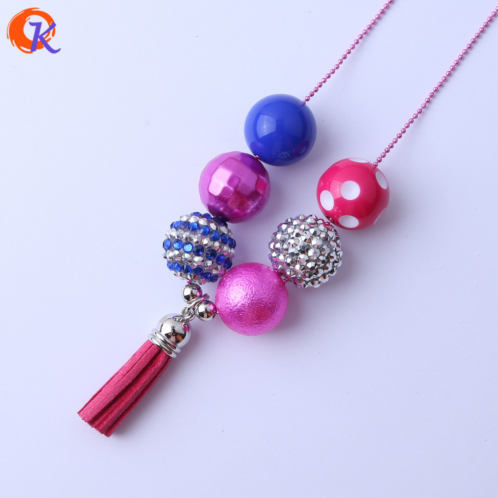 Cordial Design Fashion Handmade DIY Jewelry Chunky Bubblegum Beads Hot Pink Flocking Tassels Pendant Chain Necklace CDLN-0010