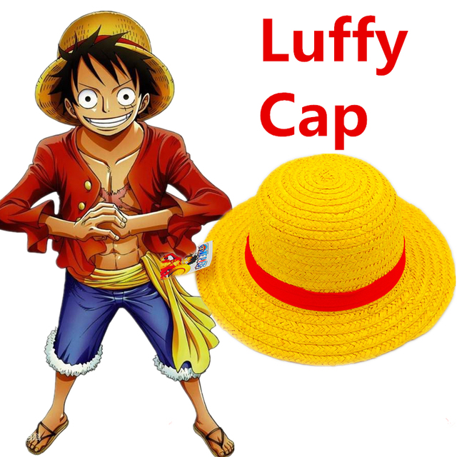 da8ca2ce477 Anime One Piece Luffy Cosplay Costumes Straw Boater Beach Hats Cap Halloween