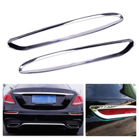 1Pair New Silver Chrome Car Rear Fog Light Frame Trim Lamp Covers Fit For Mercedes Benz