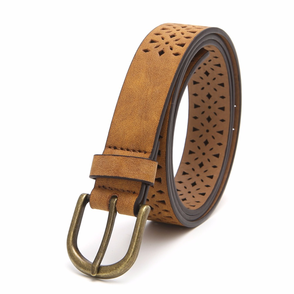 Fashion Women Lady Leather Belt Skinny Pin Buckle Waist Strap Waistband Hollow Brown