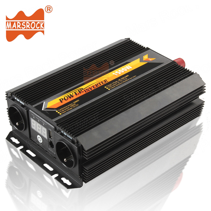 1500W Car Home Use Modified Sine Wave Off Grid Power Inverter 12V 24V 220V with LED display Remote controller switch USB Charger