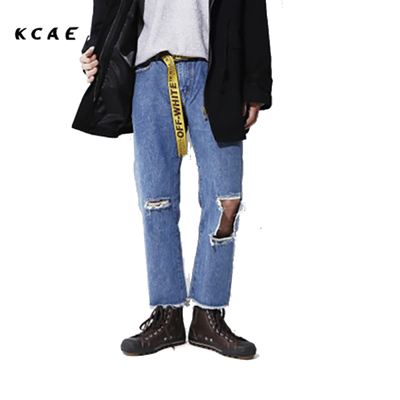 KCAE Brand 2017 Spring And Summer New Straight Loose Hole Washed Jeans Men Nine Pants With Size S-XL
