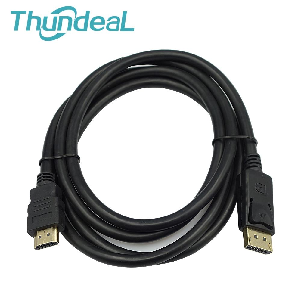 DP к HDMI 6ft 1.8 м Дисплей Порты и разъёмы DP мужчина Дисплей Порты и разъёмы HDMI Мужской Кабель-адаптер конвертер для портативных ПК HD проектор