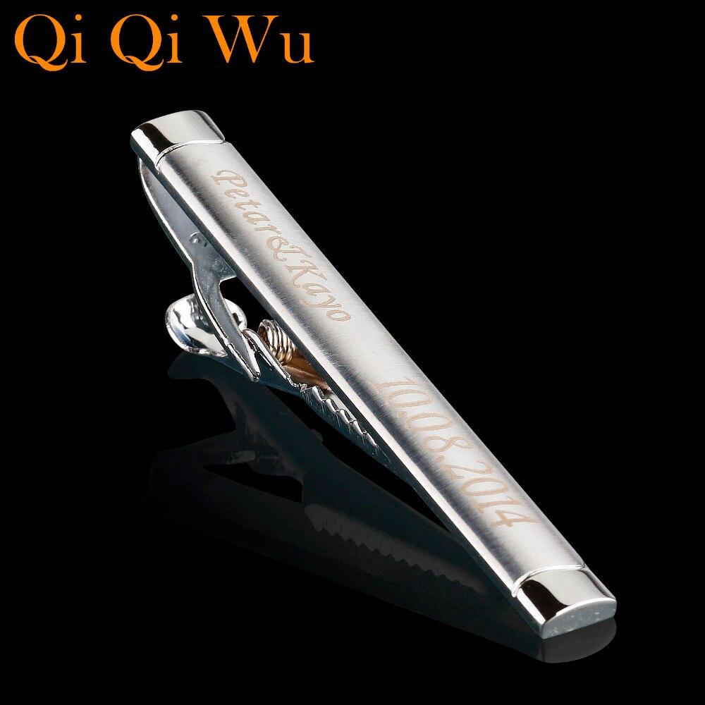 Personalizado Prata Tie Clip Para Homens Com Caixa de Presente Personalizado Gravado Nome Bar Tie Pin por Favor Do Casamento Pescoço braçadeira empate
