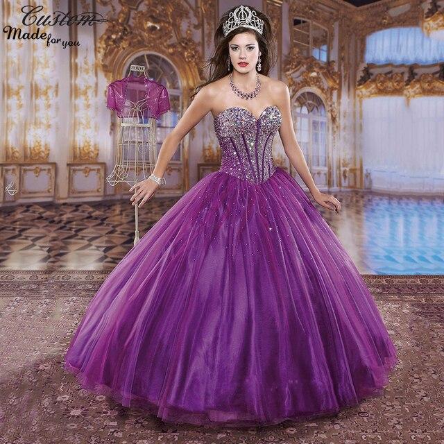 647525984 Vestidos De 15 años balón vestido vestido De fiesta para 15 años cristales  De talla grande