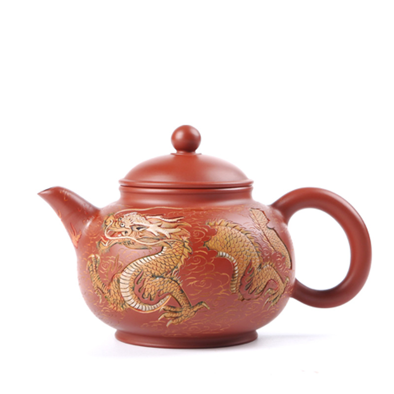 Zodiac Zisha teapot tea set Taiwan Chen Taiyuan hand-painted purple teapot carved teapot Limited collection value teapot
