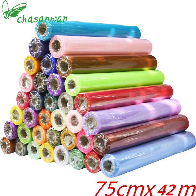 CHASANWAN 75cm*42m Sheer Crystal Organza Tulle Roll Fabric for Wedding Party Decoration Birthday Holiday New Year Decoration.