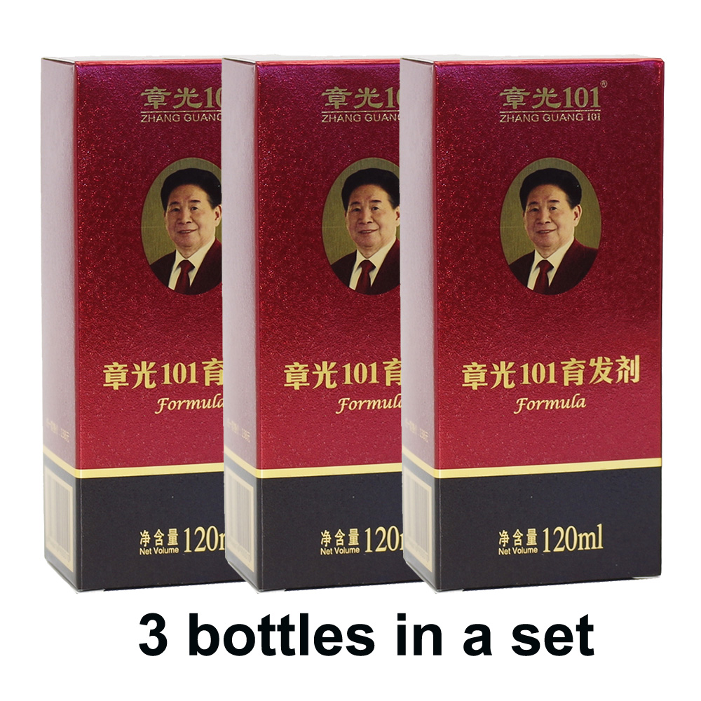World famous  Zhang Guang 101 formula 3x120ml Chinese medicine therapy anti hair loss hair care nourish the hair regrowth chun guang coconut candy 5 6 ounce