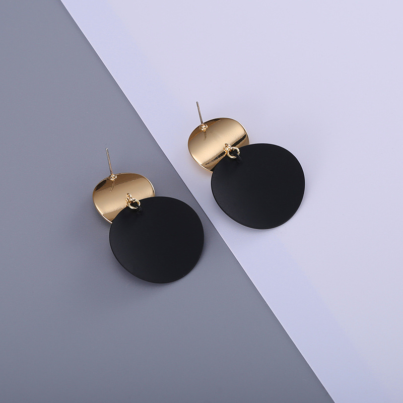 HTB1vu SiYYI8KJjy0Faq6zAiVXaZ - Unique Black Stud Earrings Trendy Gold Color Round Metal Statement Earrings for Women New Arrival wing yuk tak Fashion Jewelry