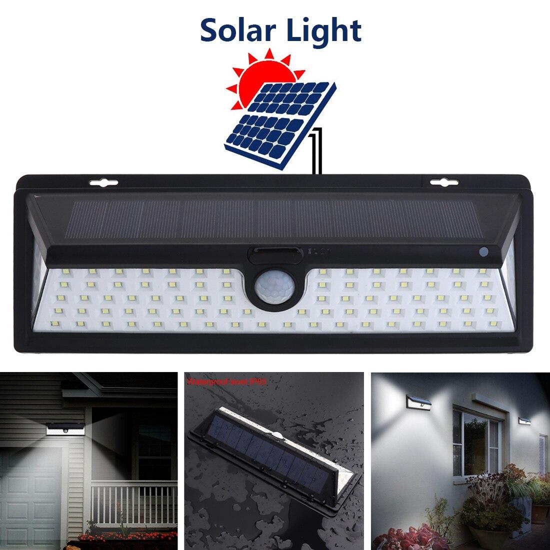 Waterproof 90 LED 2835 SMD White Solar Power PIR Motion Sensor Wall Light Outdoor Garden Light with 3 Different Lighting Modes
