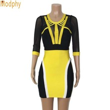 2017 New Arrival Women's O-Neck Half Sleeve Patchwork See through Mini  Bandage Dress Elegant Black and Yellow Patchwork HL2816