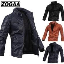 купить ZOGAA Full Sleeve Men Jacket New Mens Cotton Multi Zipper Button Collar Men Motorcycle Leather Jacket with Stand Zipper Solid дешево