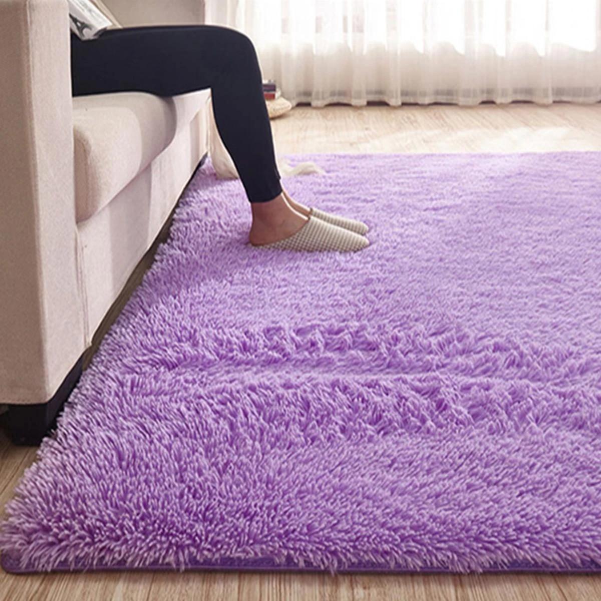 Purple Fluffy Rugs Anti Skid Shaggy Area Rug Non Slip Carpet Floor Mat Home Living Room Soft Child Bedroom Climbing Mat Carpet Aliexpress