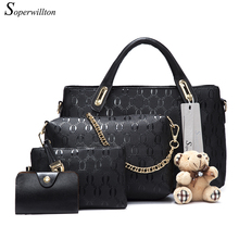 Soperwillton Women Bag Top-Handle Bags Female Famous Brand 2017 Women Messenger Bags Handbag Set PU Leather Composite Bag #150