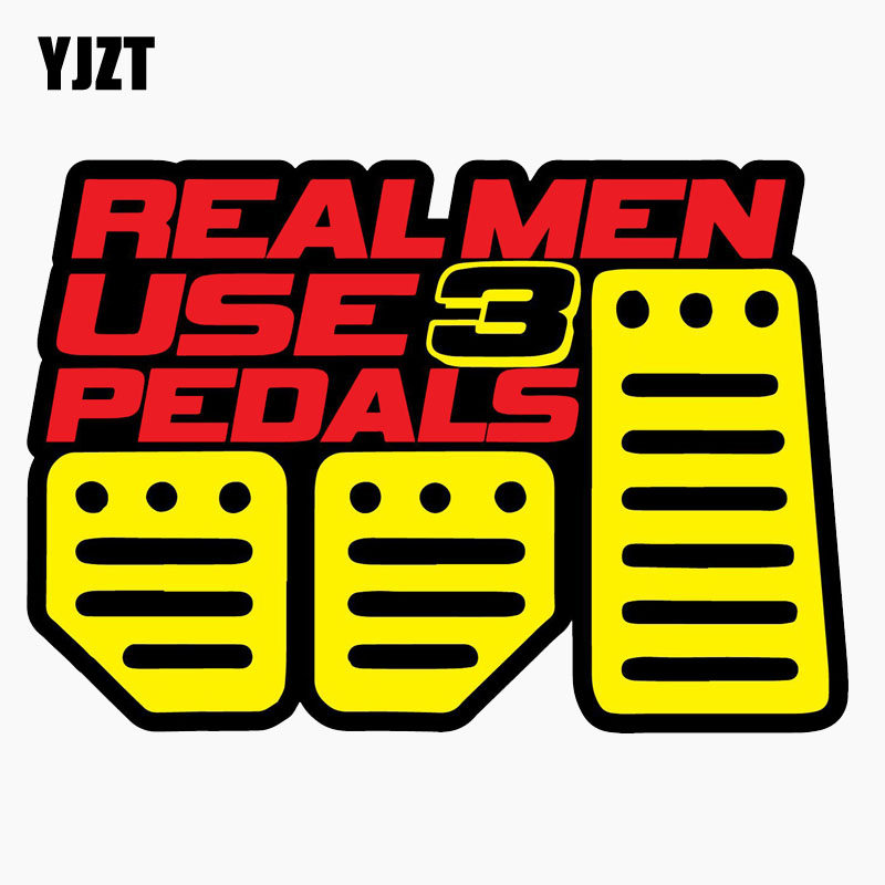 YJZT 12.7CM*8.9CM Real Men Use 3 Pedals Stick Shift Funny Personality Reflective Car Sticker Motorcycle Accessories C1-7757