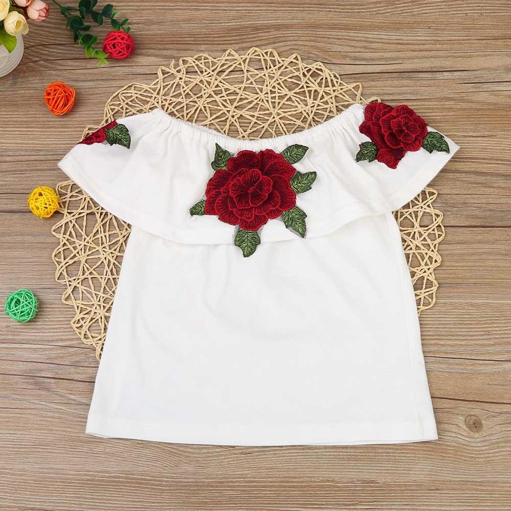 17de40b69eee3 Nouveau 2017 Coton Petites Filles Chemise De L'épaule Blanc T Shirt pour  Enfants Top Enfants Vêtements Tolder Vêtements enfants D'été Blouse dans  Tee-shirts ...