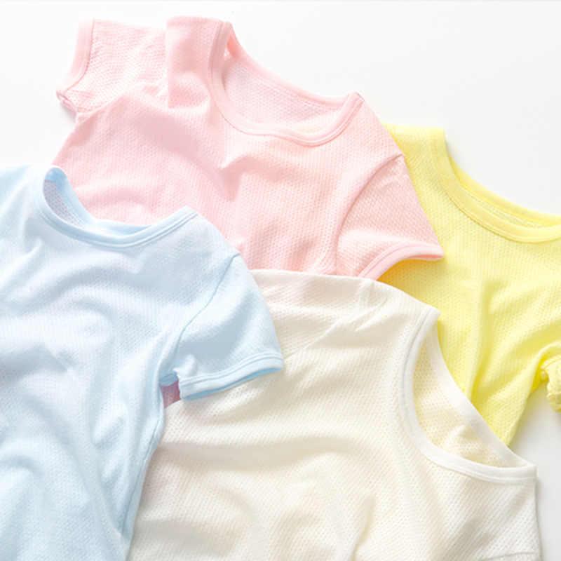 2018 летняя детская одежда топы ярких цветов футболка для девочек хлопок сетки футболка для мальчиков детские спортивные футболки От 1 до 6 лет
