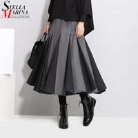 Winter Women Long Pleated Skirts 2017 Black Gray Hit Color Style Elastic Waist Empire Female Elegant