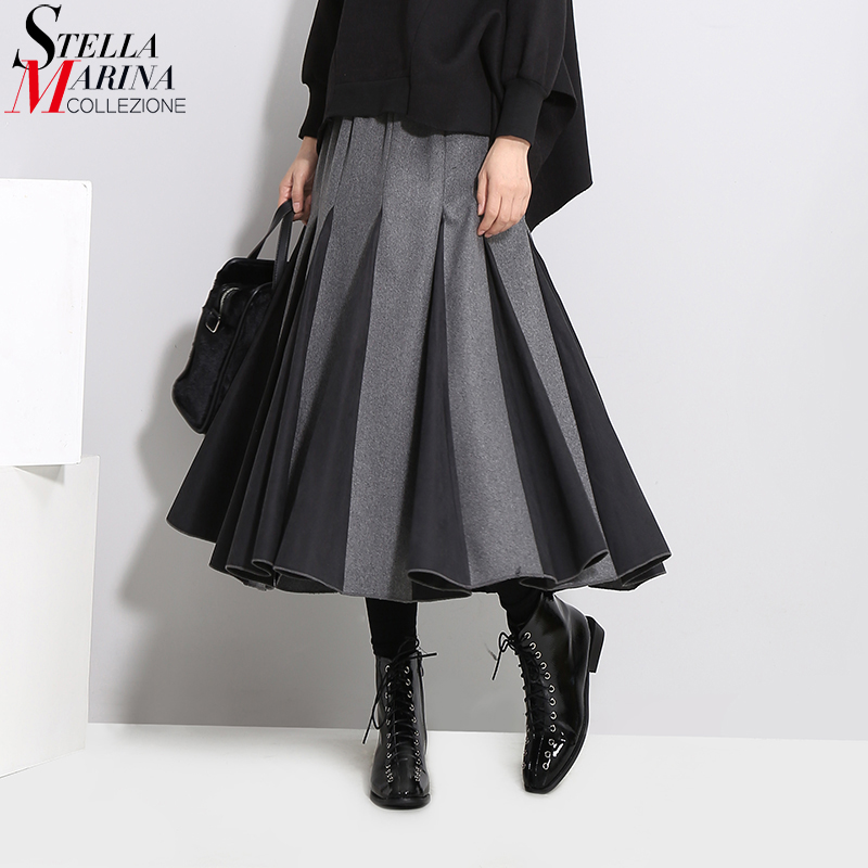 2019 Korean Style Women Autumn Winter Pleated Skirt Black Gray Elastic Waist Empire Female Elegant A-line Casual Long Skirt 3028