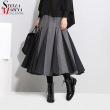 Koreaanse Stijl Vrouwen Herfst Winter Plooirok Donkergrijs A lijn Elastische Taille Dikke Stof Dames Elegante Casual Lange Rok 3028